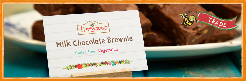 Honeybuns point of sale sign for gluten free Milk Chocolate Brownie traybake cakes