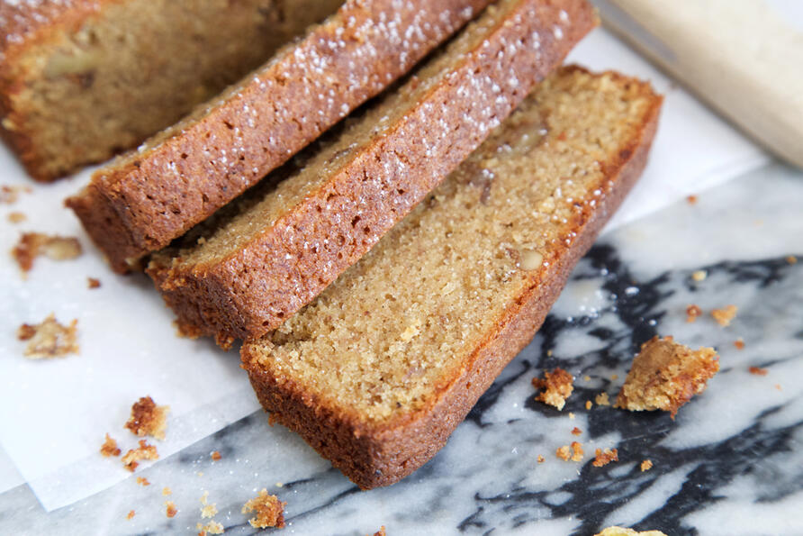 Slices of banana bread on marble worktop