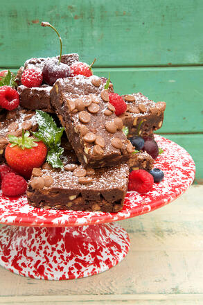 Brownie cake stack with strawberries