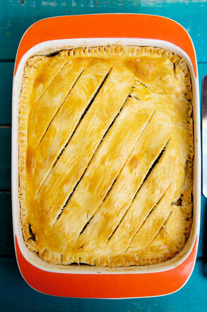 Full butternut squash, stilton and spinach pie