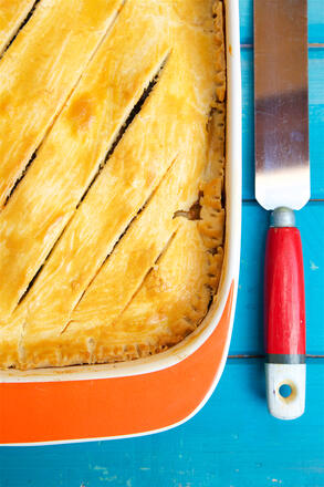 Butternut squash, stilton and spinach pie with pallet knife