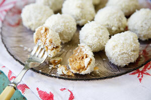Gluten free Snowball Cake Truffles on glass plate with fork