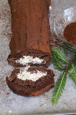Gluten free chocolate swiss roll with cream