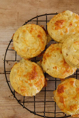 Gluten free cheese scones on cooling rack