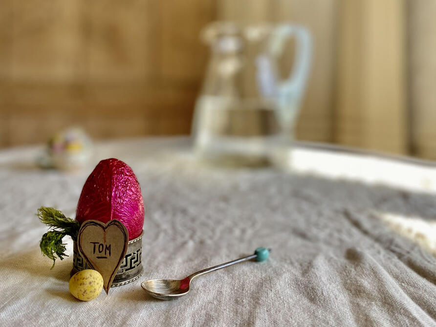 Easter name place with vintage egg cup