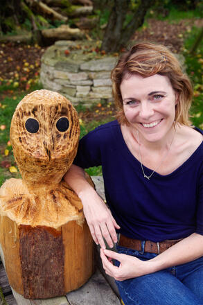 Em with wooden owl