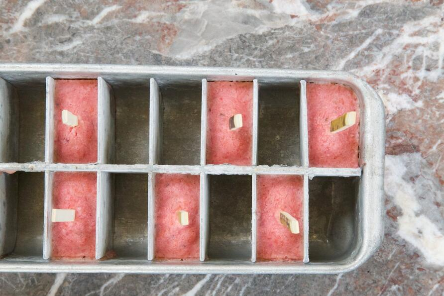 fruity ice lollies in ice cube mould