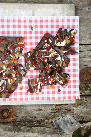 Half smashed chocolate bark