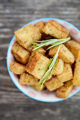 Bowl of gluten free croutons from above