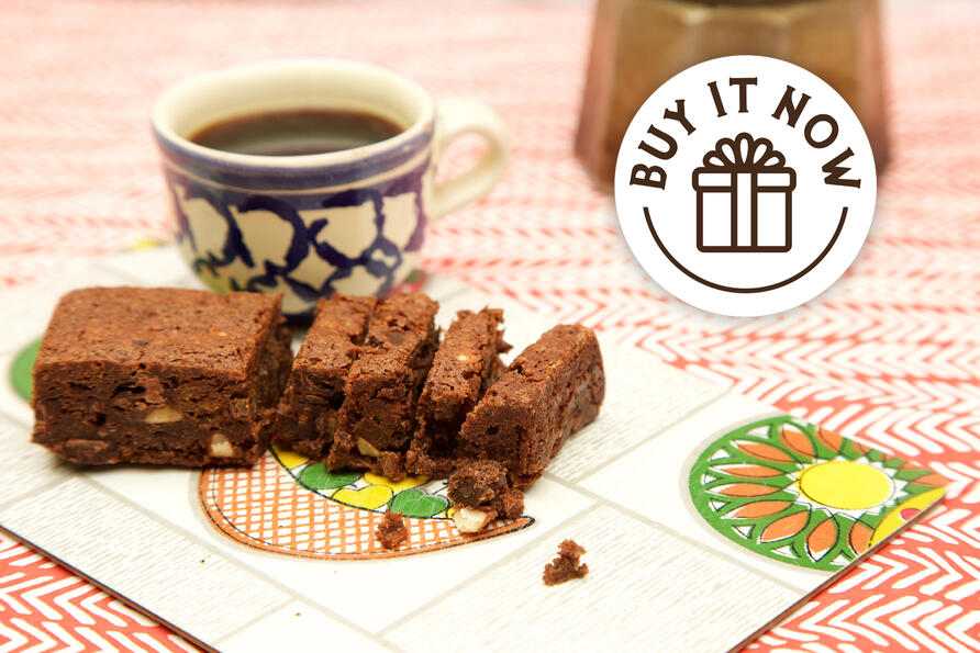 Dark Chocolate & Orange Brownie with coffee cup