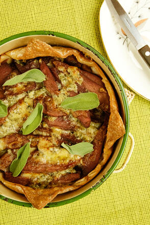 Gluten free pear and stilton tart