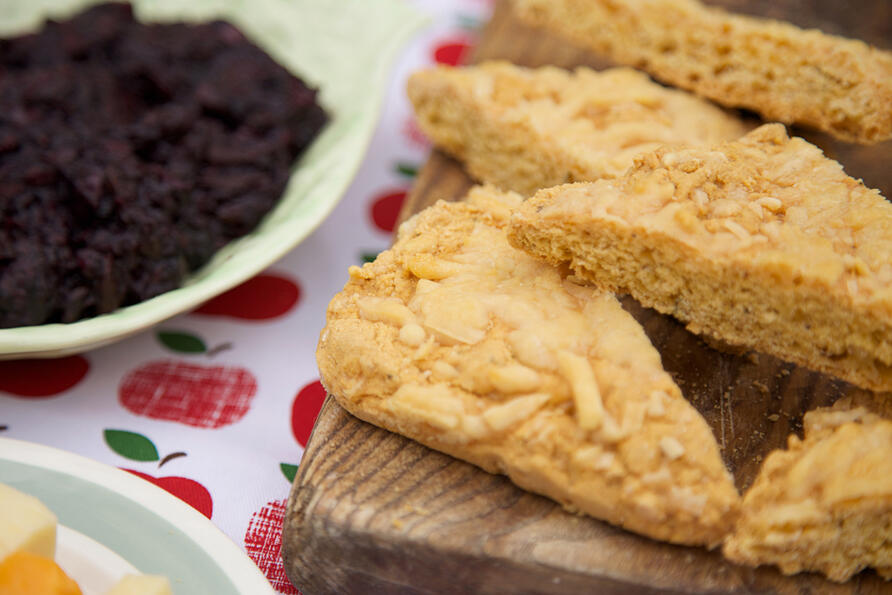 Cheesy gluten free cornbread dippers with chutney