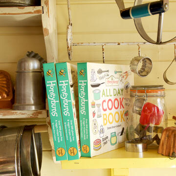 Honeybuns All Day Cook Book filled with gluten and nut free and vegan friendly recipes