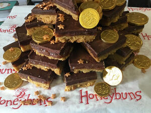 Stack of Millioaires Shortbread decorated with chocolate coins