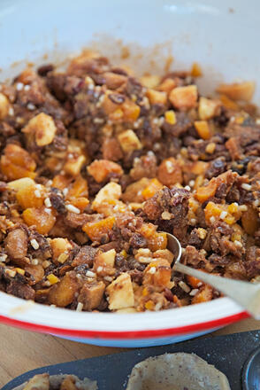 Homemade vegetarian fruity mincemeat in bowl with spoon