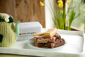 spring time mothers day tea tray with cakes