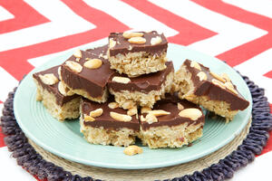 Peanut butter and chocolate flapjack on plate