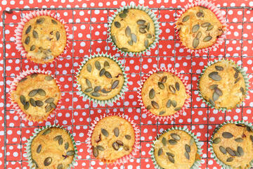 Shawn Mednes apple muffins on wire cooling rack