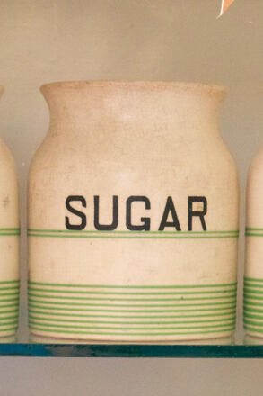 Sugar jar on shelf