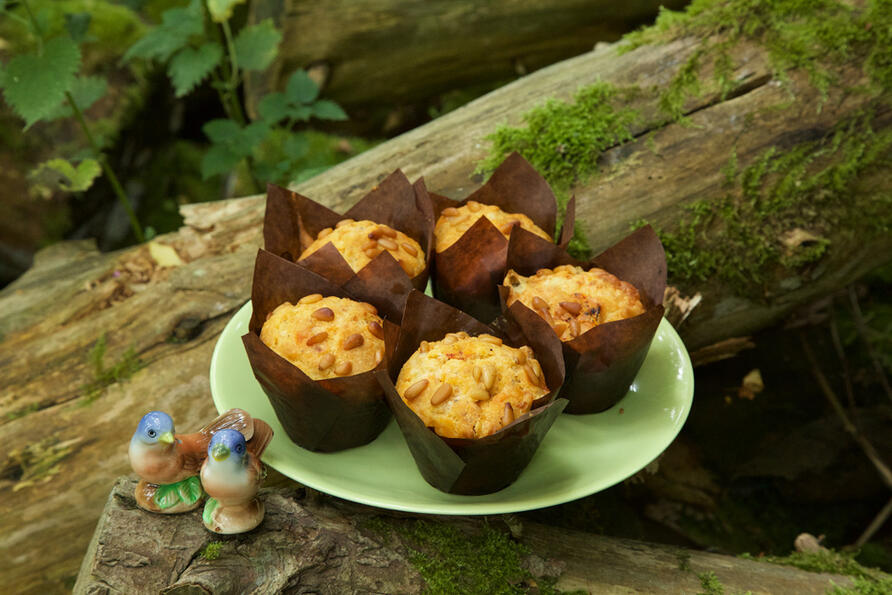 home baked muffins displayed on a green plate in a charming woodland setting on moss covered logs