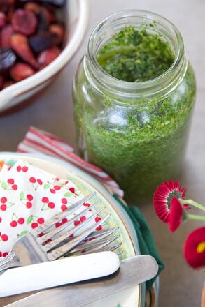 Gluten, dairy and nut free Pea Pesto recipe