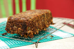 Vegan nut roast from side view