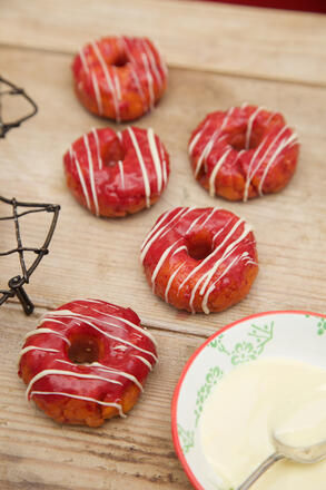 Vegan, gluten free and dairy free sweet potato doughnuts with dairy free chocolate drizzle
