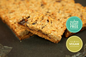 Mincemeat Crumble Slice cake traybake with slice taken out