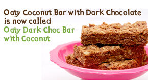 our newly named gluten free and vegan oaty dark choc bar with coconut