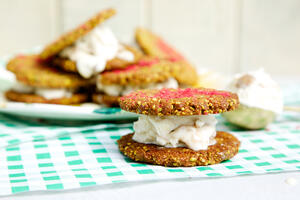 pistachio cookies sandwiched with ice cream