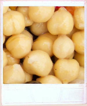 Close up of lots of chickpeas