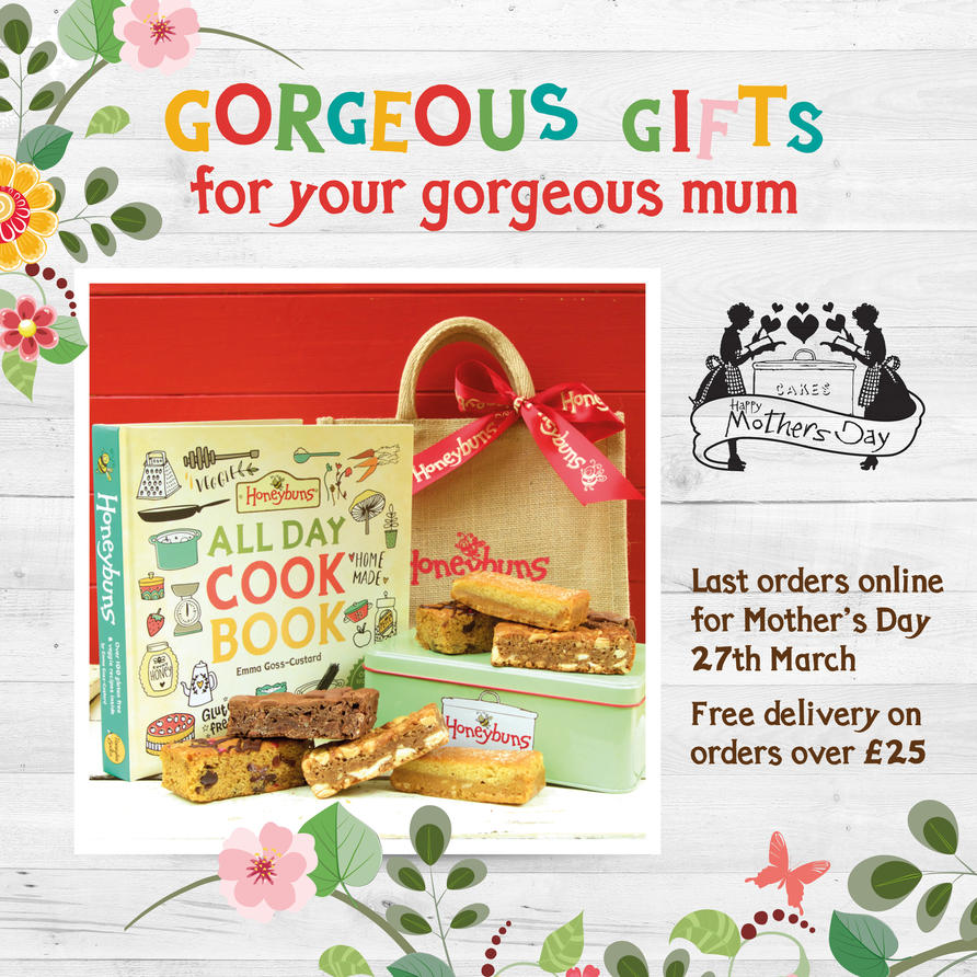 Mother's Day gifts delivered to your door by mail order from our online shop. We're one of the leading free from bakeries supplying gorgeous cakes and traybakes for UK foodservice. All our cakes are gluten free and vegetarian, and we also have plant based vegan and dairy free options too. Our new recipe book 'Honeybuns All Day Cook Book' is filled with gluten free& vegetarian sweet and savoury recipes with vegan, dairy free and nut free options too.