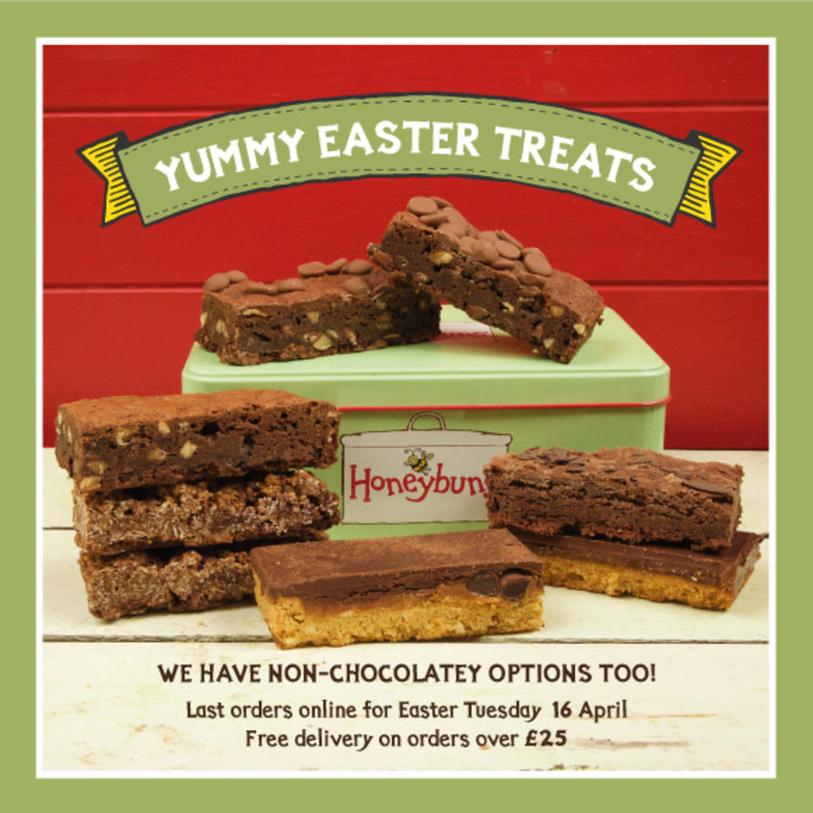 gluten free Easter chocolate cakes and gifts delivered to your door by mail order from our online shop. We're one of the leading free from bakeries supplying gorgeous cakes and traybakes for UK foodservice. All our cakes are gluten free and vegetarian, and we also have plant based vegan and dairy free options too. Our new recipe book 'Honeybuns All Day Cook Book' is filled with gluten free& vegetarian sweet and savoury recipes with vegan, dairy free and nut free options too.