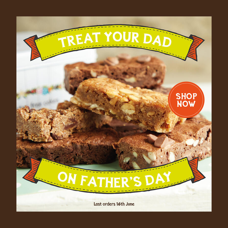 Gorgeous gluten free cakes and gifts to buy online and send by mail order for UK delivery. Treat your dad this Father's Day with delectable chocolate treats - we'll deliver to his doorstep.