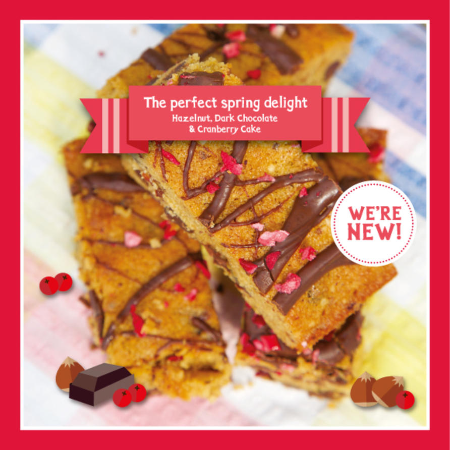 Our new cake is a delicious gluten free slice of Hazelnut, Dark chocolate and cranberry.