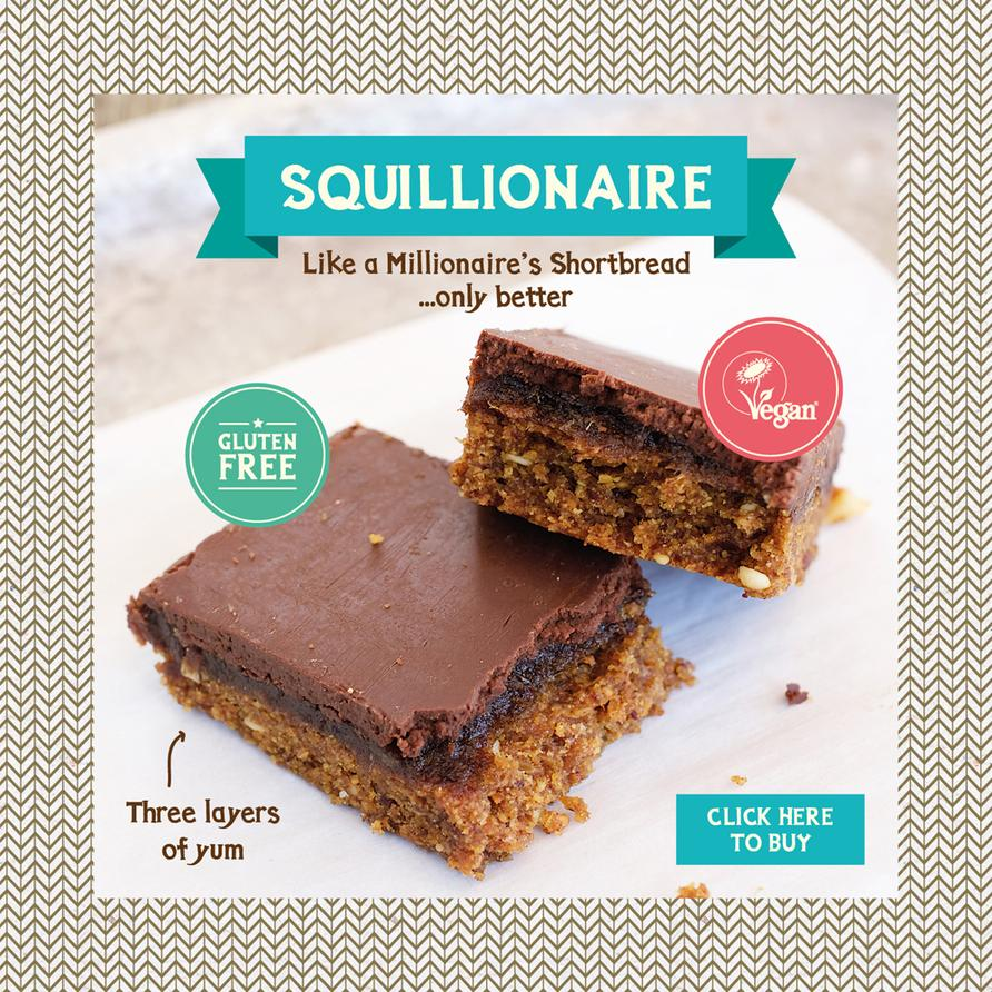 Our gluten free, dairy free and vegan Squillionaire bar, like a millionaire shortbread only better