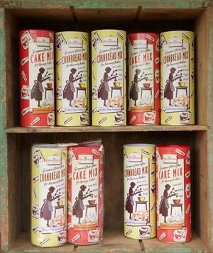 Home baking mixes on shelves