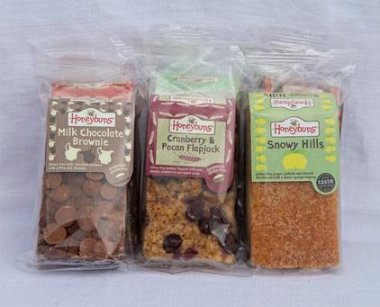 Chocolate brownie, flapjack and snowy hills in packaging