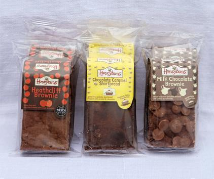 Heathcliff brownie, caramel shortbread and brownie in packaging