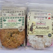 Amondi and Pistachio cookies in packaging
