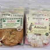 Packaged Amondi and pistachio cookies