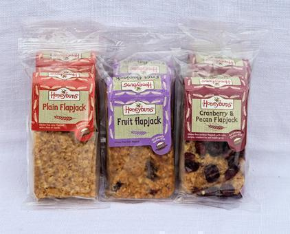 Packaged flapjack, fruit flapjack and pecan flapjack