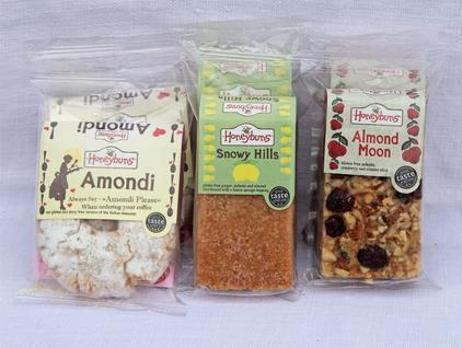 Amondi, Snowy Hills and Almond Moon in packaging