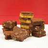 Selection of gluten free chocolate minis brownies and chocolate caramel shortbread