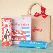 Gluten free cake mix, cookbook and bag