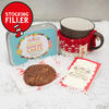 Charming little tin with gluten free chocolate cookie, gift card and hand knitted mug snug, the perfect stocking filler