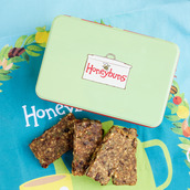 Fruity Nut Bars with green gift tin