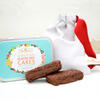 Linen gift bag and vegan brownie valentines day gift
