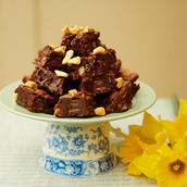 Milk Chocolate brownie stack a cake gluten free Easter gift