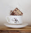 Vintage teacup and gluten free brownie